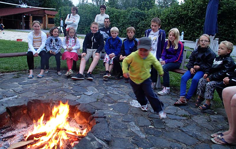 In high season we play various games at the bonfire