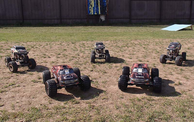 Our basic fleet of 4WD RC cars